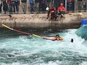 rescuing a person in white water